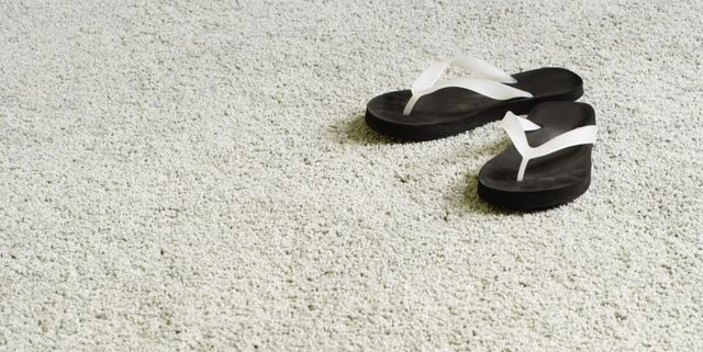 Flip-flops on a carpet after carpet cleaning in Palmerston North