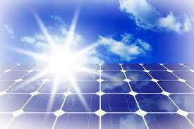 solar panel with sun beams