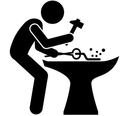 immagine di un omino con in mano un martello e un pezzo di ferro ardente