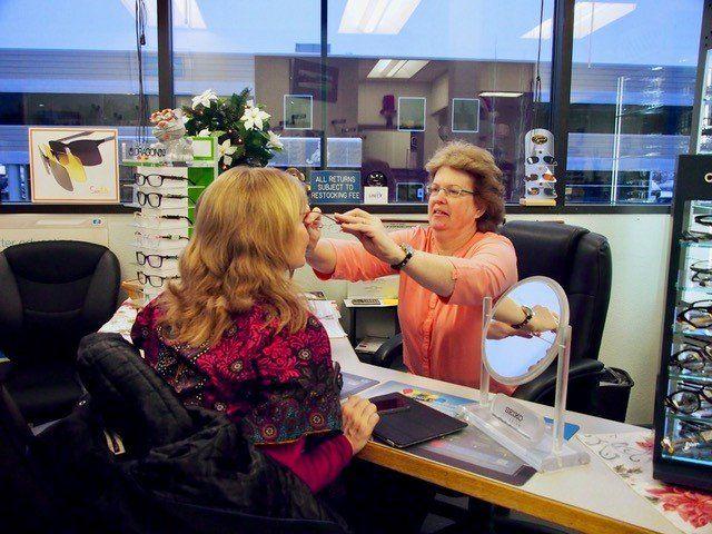 Patient undergoing eye exam in Anchorage, AK