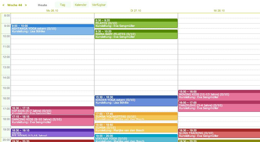 Stundenplan Sport Fitness Kurse online Wörthsee Starnberg