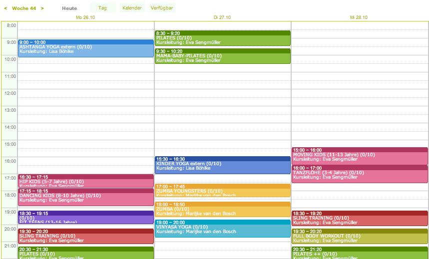 Stundenplan Sport Fitness online