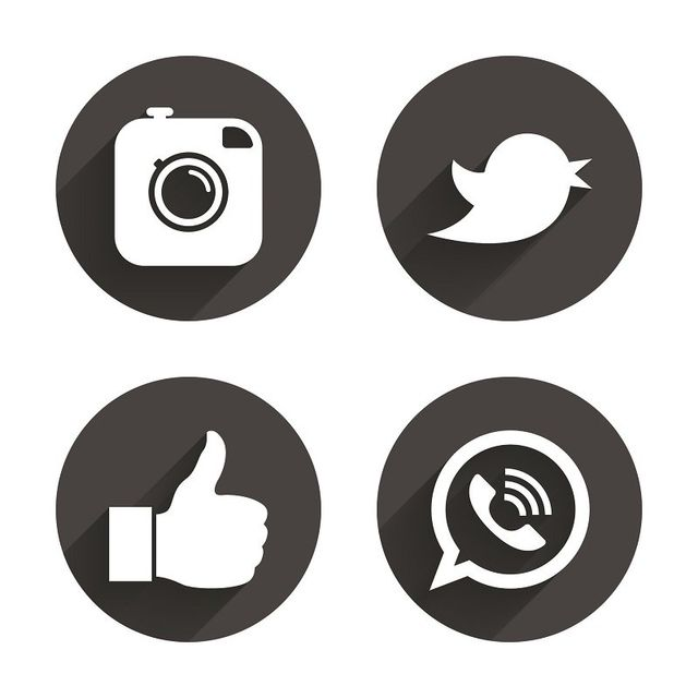 un collage con loghi di Instagram, Twitter,
