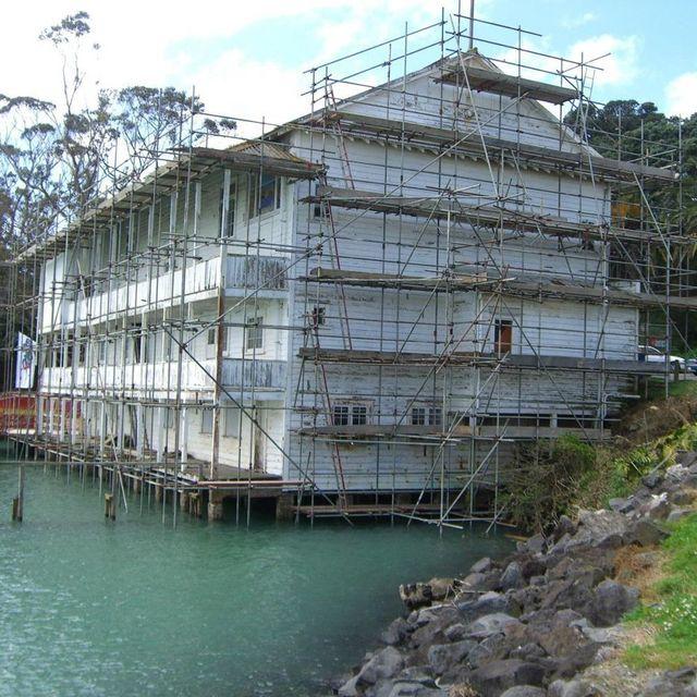 Scaffolding lake house