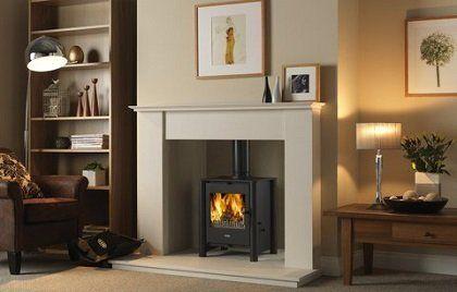 Black traditional wood burning stove