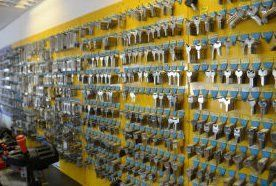 Keys and accessories displayed on the shop wall