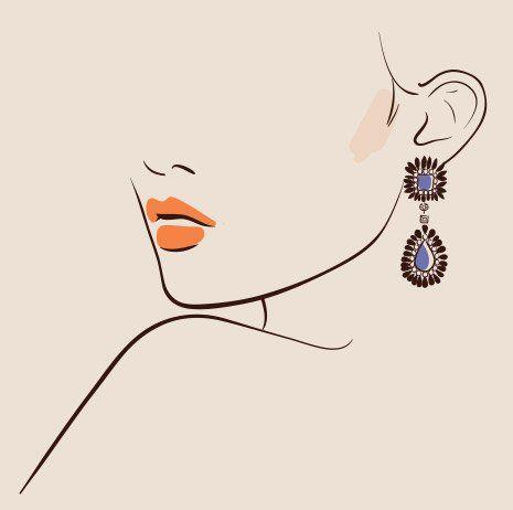 Disegno di una donna con gli orecchini a Faenza