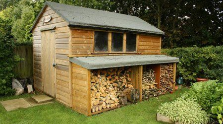 Garden shed with log storage space