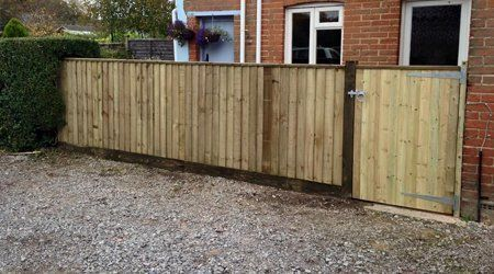 A high timber fence & gate at the front of a house