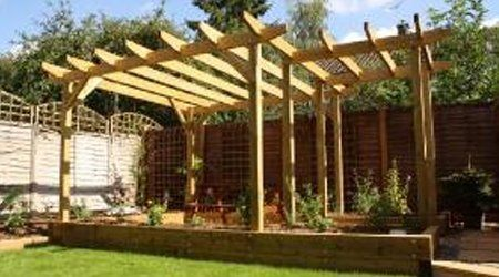 Corner pergola with plants and shrubs