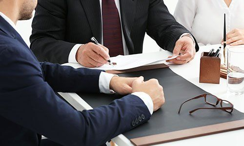 Documents signing with client in office