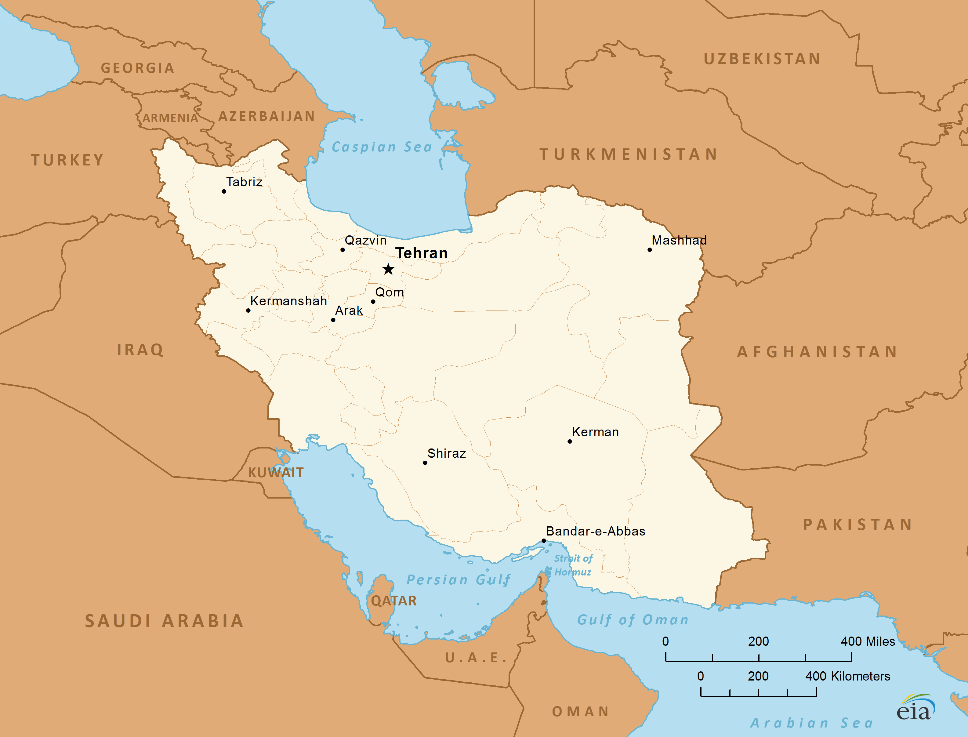 Iran map , persian gulf, caspian sea, middle east ,