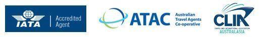 Iata logo, atac australian travel agents, CLIA accreditation