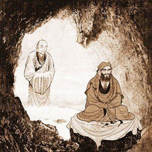 Bodhidharma meditating for nine years facing cave wall