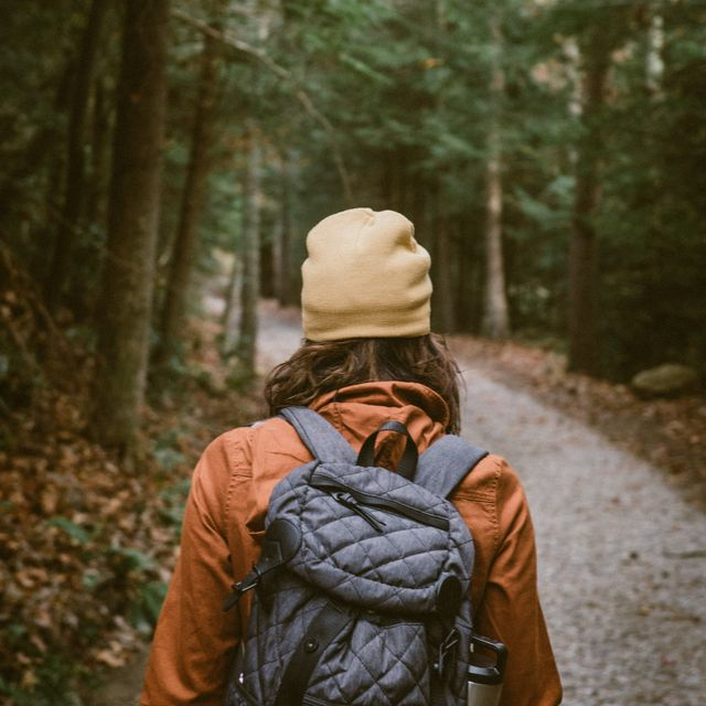 Photo of a person hiking through the forest