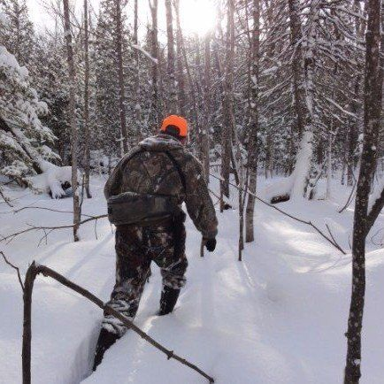 Photo of a hunter hiking through the forest