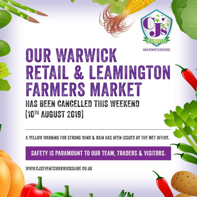 Warwick retail & Leamington farmers - Saturday 10th August 2019