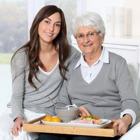 serving food to the elderly