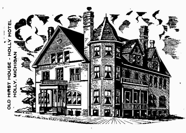 Original Line Drawing of Holly Hotel in 1908