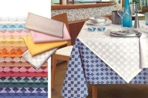 Satin cotton/polyester - White/blue checkered