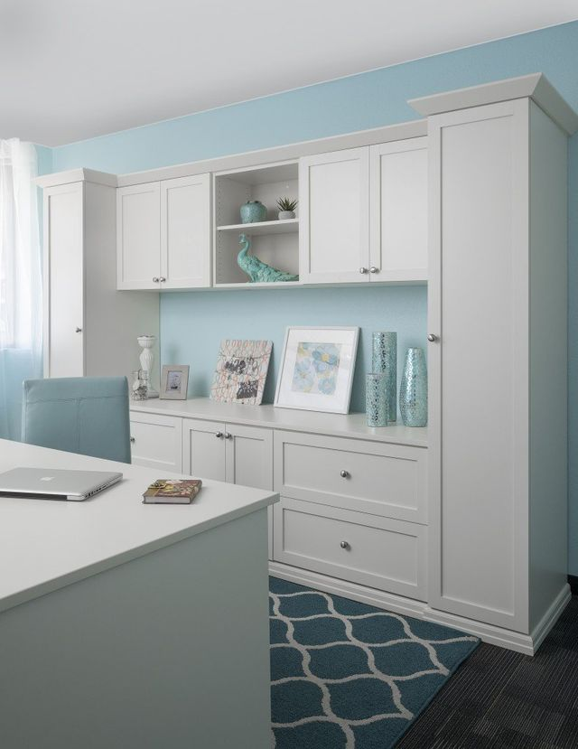 Custom Home Office Cabinets With A White Finish