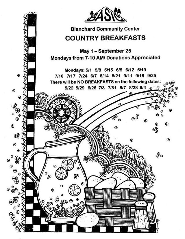 Blanchard Community Breakfast Schedule