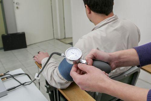 Man preparing for polygraph test