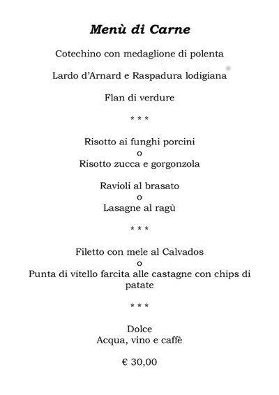 Menù di carne del Ristorante Il Bacio a Cura Carpignano