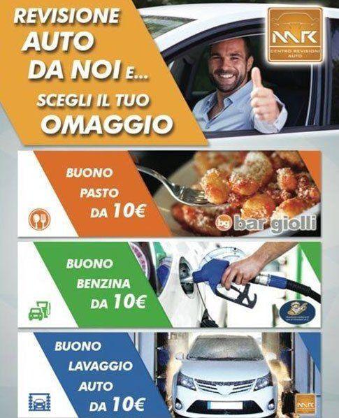una brochure con scritto revisione auto da noi e scegli il tuo omaggio, buono pasto,buono benzina, buono lavaggio auto