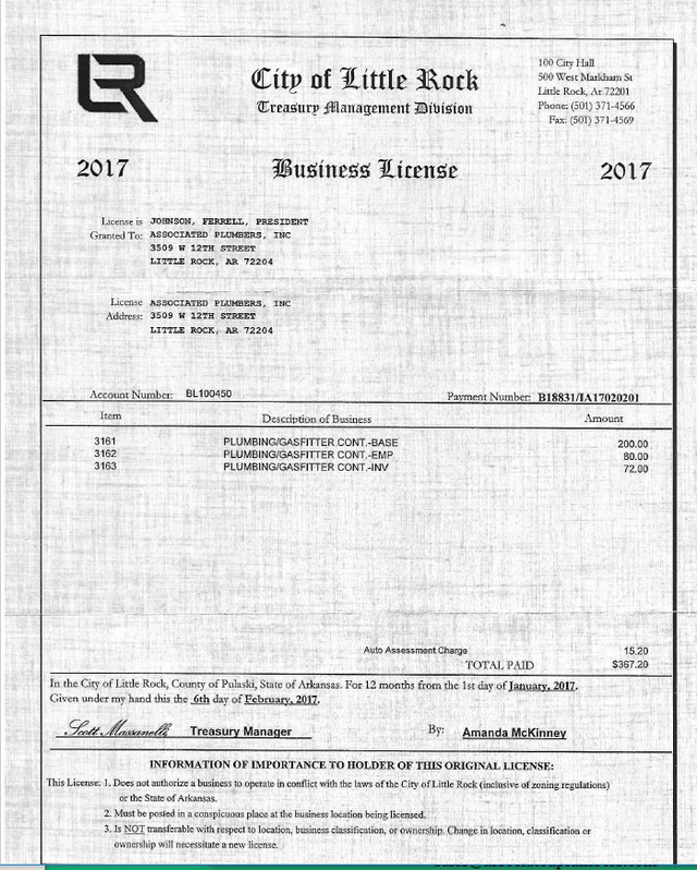 2017 Little Rock Business License
