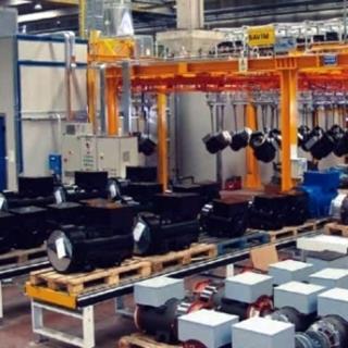 Impianto di verniciatura automatico a liquido di generatori elettrici