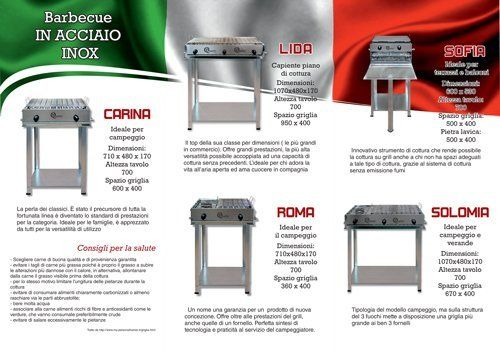 Brochure con vari barbecue in acciaio inox