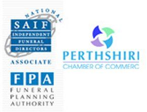 Funeral Planning Authority logo, SAIF logo, Perthshire Chamber of Commerce logo, James Carcary Funeral Directors