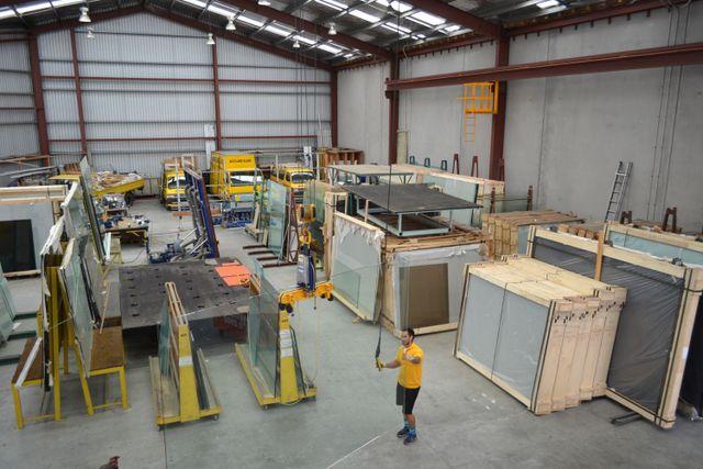 Glaziers working in Auckland warehouse