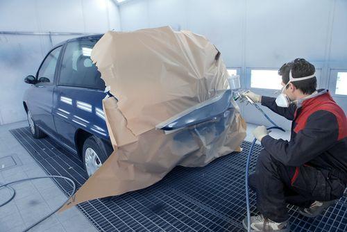 Car body repair in progress in our garage