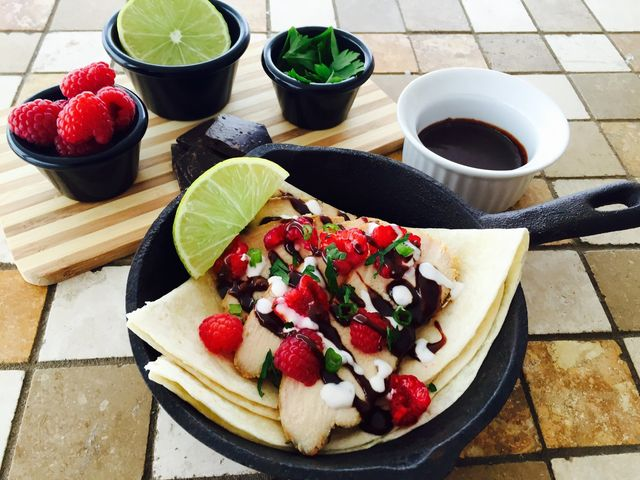 Spicy, Savory Chicken Chocolate Raspberry Tacos using Little Bird Kitchen's Lineup of Spicy Jalapeno Chocolates.