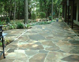 with that in mind let us design and create a new patio walk way stone wall etc with pavers or natural stone - Patio Installation