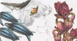 Disegno stilizzato di donna con capelli mossi, una pianta e tartarughe