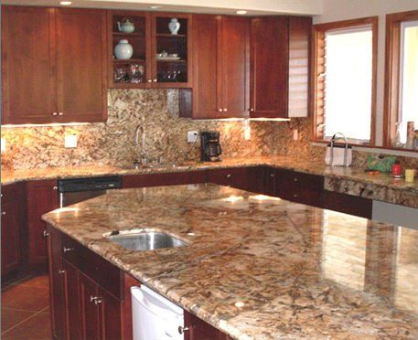 Interior shot of work the company has done with stone slab