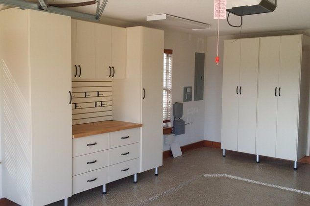 custom garage storage with workbench
