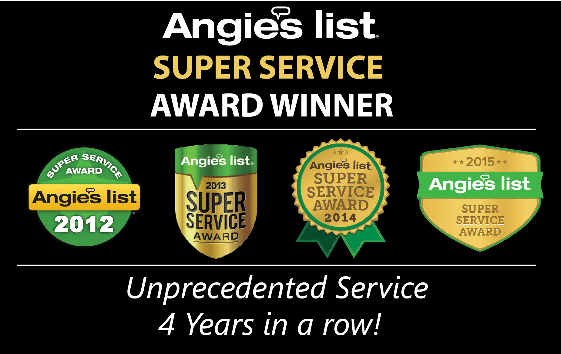 angie's list super service award winnner four years in a row