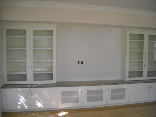 custom entertainment center with large television insert