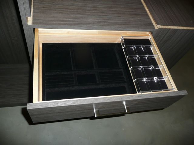 black velvet jewelry holder in drawer