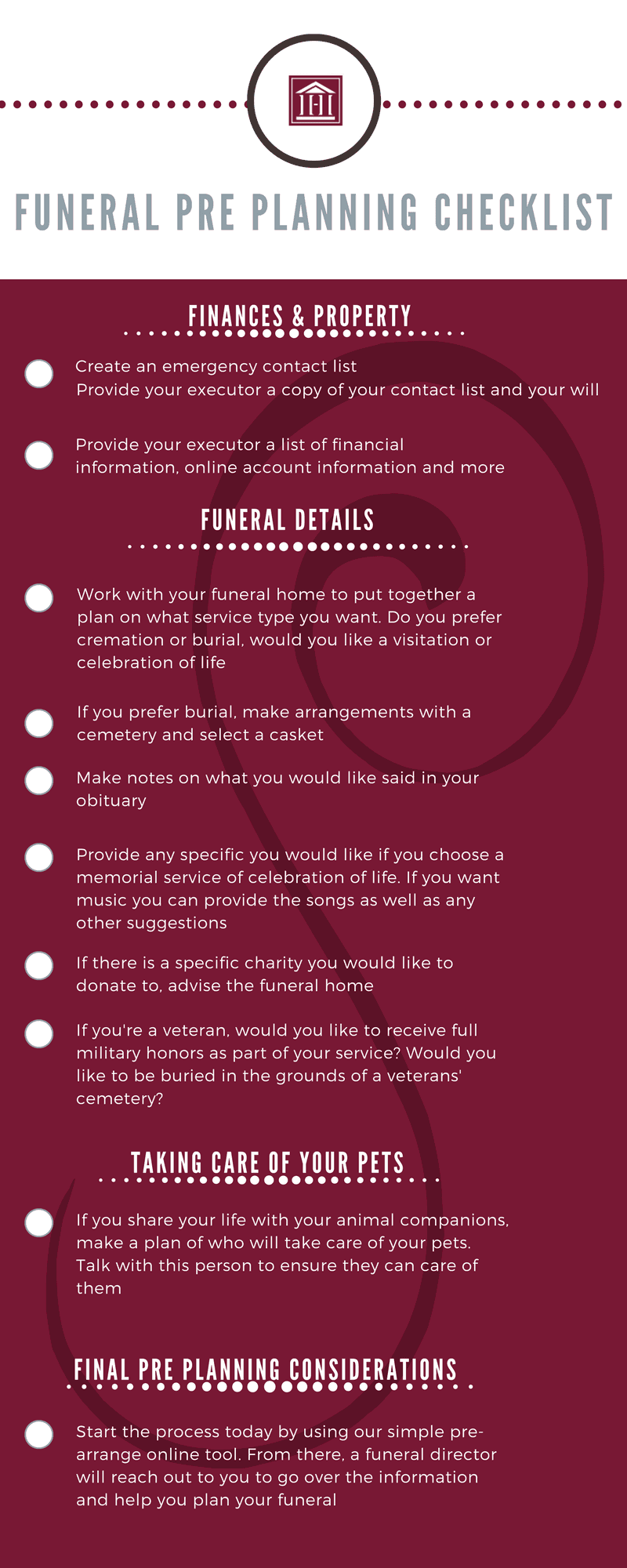 funeral pre planning checklist highlands funeral home