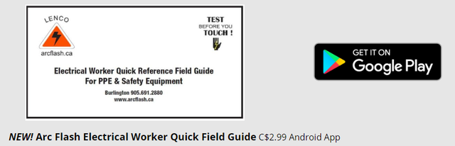 ece0fe48a0be Arc Flash Electrical Worker Quick Field Guide APP is available on Google  Play!