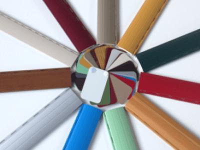 pannello colori di infissi avvolgibili in alluminio