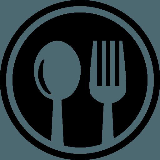 Icona - piatto pranzo con cucchiaio e forchetta