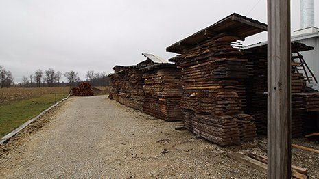 Stacks of kiln dried lumber in Ohio