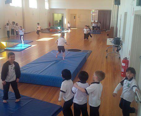 Group of girl gymnasts