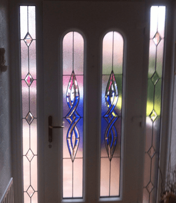 decorative glass on a front door